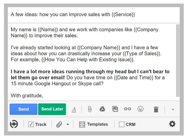 cold sales email template